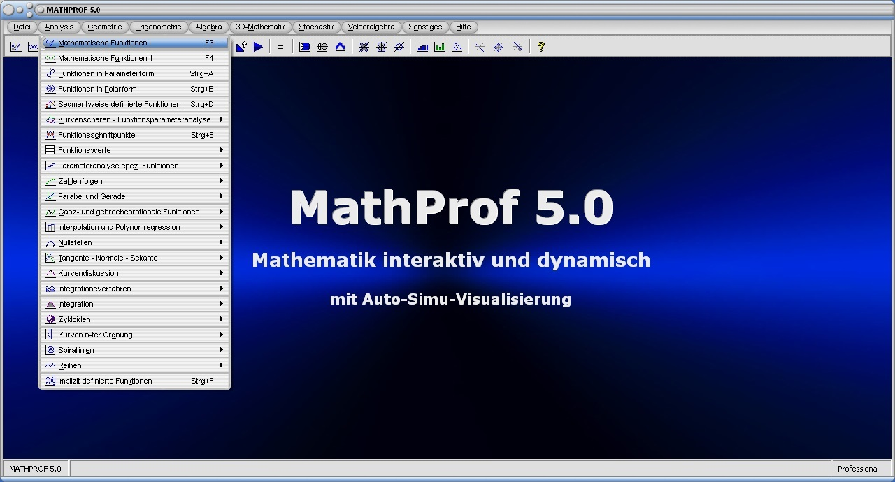 MathProf 5.0 - An easy-to-use math program which, among other things, enables two-dimensional and three-dimensional graphics to be used to illustrate mathematical relationships in an uncomplicated manner.