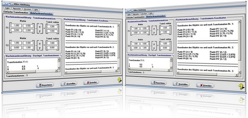 MathProf - Affine Abbildung - Affine Transformation - Affine Operation - Matrix - Abbildungsmatrix - Spiegelungsmatrix - Translationsmatrix - Transformationsmatrix - Projektionsmatrix - Scherungsmatrix - Abbildungsmatrizen - Verschiebungsvektor - Vektor - Drehmatrix - Darstellen - Drehung - Transformieren - Plotter - Berechnen - Punkt - Bild - Grafik - Rechner - Graph