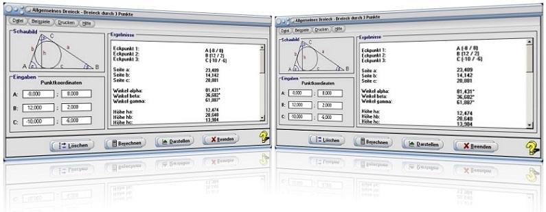 MathProf - Schiefwinkliges Dreieck - Dreieck durch 3 Punkte - Schwerpunkt des Dreiecks - Flächenberechnungs - Eckpunkte eines Dreiecks - Ankreismittelpunkt - Inkreismittelpunkt - Schwerpunkt - Seiten - Höhen - Bild - Grafik - Punkte - Rechner - Graph - Berechnung - Berechnen - Plotter - Seiten - Koordinaten - Darstellen - Zeichnen - Dreiecksfläche - Inkreis - Umkreis