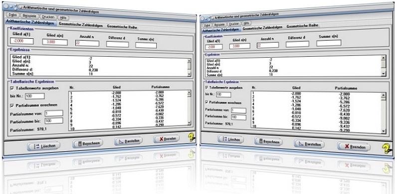 MathProf - Geometrische Reihe - Arithmetische Folge - Geometrische Folge - Arithmetische Reihe - Arithmetische Zahlenfolge - Geometrische Zahlenfolge - Partialsumme - Teilsumme - Summe - Reihe - Folge - Rechner - Berechnen - Eigenschaften - Darstellung - Tabelle - Berechnung - Darstellen