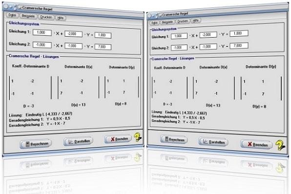 MathProf - Cramersche Regel - Cramer-Regel - Lösungen - Determinante - Zeichnerisch - Grafische Lösung - Grafisches Lösen - Grafisch lösen - Zweireihige Determinante - Lösung - Graph - Grafisch - Plotter - Plotten - Rechner - Grafik - Darstellung - Berechnen - Darstellen - Zeichnen