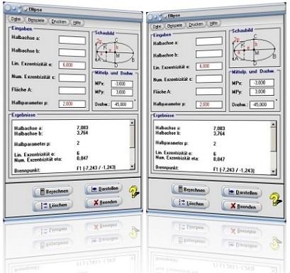 MathProf - Ellipse - Rechner - Fläche - Umfang - Halbachsen - Brennpunkte - Exzentrizität - Hauptachse - Nebenachse - Brennpunkt - Bild - Grafik - Plotten - Plotter - Formel - Graph - Darstellung - Berechnung - Berechnen - Zeichnen - Darstellen