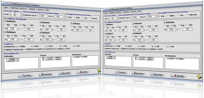 MathProf - Ganzrational - Polynom - Polynomfunktion - Koeffizienten - Bestimmen - Bestimmung - Ermitteln - Ermittlung - Berechnen - Bedingungen - Ableitung - Rechner - Graph - Plotten - Darstellen - Nullstellen