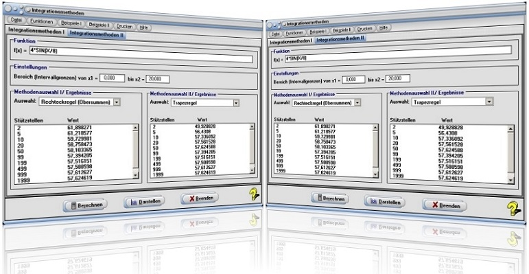MathProf - Integrationsmethoden - Numerisch - Numerisch integrieren - Integration - Integrieren - Methoden - Verfahren - Simpson - Rechteckverfahren - Newton-Cotes - Tschebychow - 3/8-Regel - 3/8-Methode - Gauß-Quadratur -  Intervallhalbierung - Berechnung - Berechnen - Darstellen - Rechner - Plotten - Graph