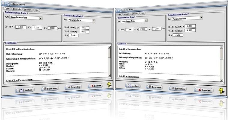 MathProf - Zwei Kreise - Kreise - Schnittpunkte - Kreisfunktion - Berechnung - Darstellung - Tangente zweier Kreise - Normale zweier Kreise - Chordale - Eigenschaften - Kreis Kreis - Flächenberechnung - Kreisberechnungen - Kreismittelpunkt - Berührpunkt - Rechner - Darstellen - Berechnen - Plotter - Graph - Plotten - Tangenten - Berechnung