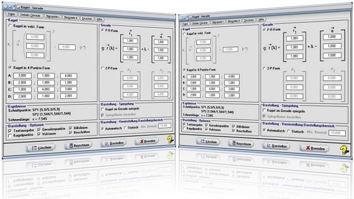 MathProf - Kugel - Gerade - Schnittpunkt - Abstand - Lagebeziehung - Lage - Kugelgleichung - Geradengleichung - Rechner - Plotten - Berechnen - Raum - Räumlich - Graph - Grafisch - Zeichnen - Plotter