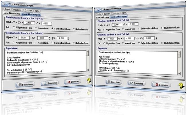 MathProf - Parabel - Quadratische Funktion - Quadratische Gleichung - Parabelgleichung - Quadratische Funktionsgleichung - Funktionsgleichung - Produktform - Formeln - Quadratfunktion - Normalparabel - Koeffizienten - Berechnen - Plotter - Plotten - Grafikrechner - Grafik - Zeichnen - Darstellung - Formeln - Eigenschaften - Nullstellen - Tangenten - Schnittpunkte - Rechner
