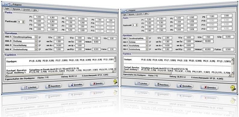 MathProf - Zentrische Streckung - Geometrische Transformationen - Punkte - Darstellung - Spiegelung - Spiegelachse - Streckung - Scherung - Stauchung - Verschiebung - Drehung - Drehstreckung - Mehrfachspiegelung - Gleitspiegelung - Schubspiegelung - Rotation - Streckfaktor - Streckzentrum - Streckungszentrum - Spiegelzentrum - Graph - Figur - Grafisch - Plotten - Bild - Plotter - Punkte - Rechner - Berechnen - Grafik