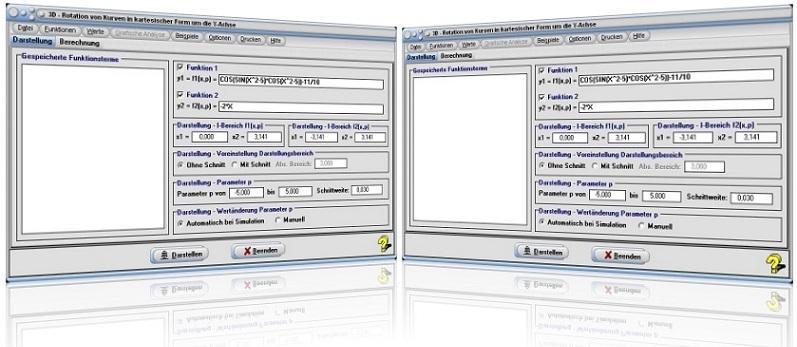 MathProf - Rotierende Körper - 3D - Grafik - Rotationskörper - Integral - Volumen - 3D - Y-Achse - Rotation - Rotieren - Drehen - Drehkörper - Funktionen - Parameter - Rechner - Berechnen - Beispiel - Grafik - Zeichnen - Darstellen - Darstellung - Volumen