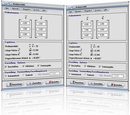 MathProf - Skalarprodukt - Vektoren - Inneres Produkt - Skalares Produkt - Winkel - Plotten - Plotter - Graph - Grafisch - Bild - Darstellung - Berechnung - Berechnen - Rechner - Darstellen - Formel - Gleichung - Grafik