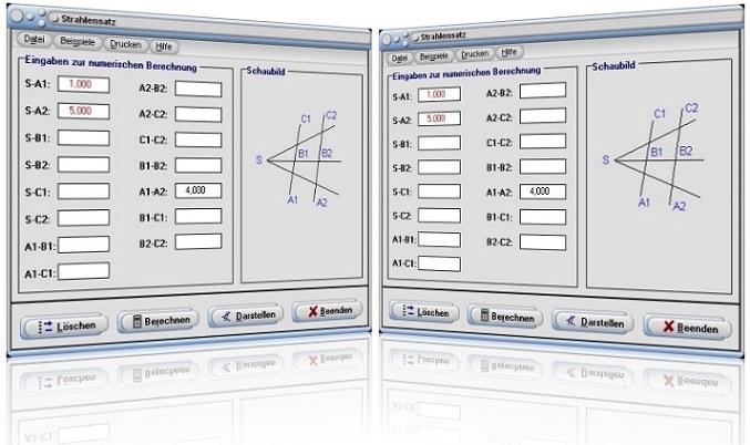 MathProf - Strahlensatz - Strahlensätze - Verhältnisse - Strahl - Längenverhältnis - Streckenverhältnisse - Verhältnisgleichung - Strahlensatzfigur - Vierstreckensatz - Vierstreckensätze - 1. Strahlensatz - 2. Strahlensatz - 3. Strahlensatz - Seitenverhältnis - Seitenverhältnisse - Grafik - Bilder - Graph - Darstellung - Berechnung - Darstellen - Rechner - Plotter