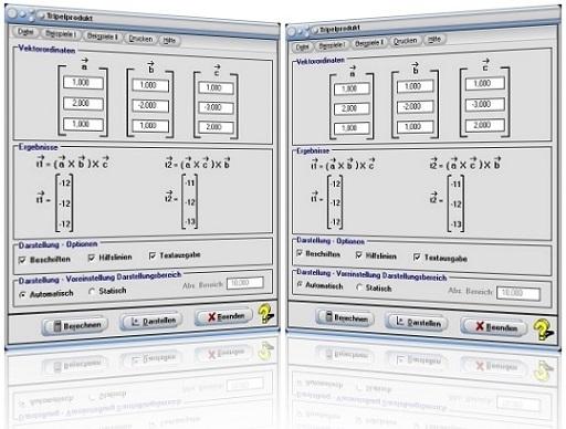 MathProf - Tripelprodukt - Doppeltes Vektorprodukt - Triple product - Vektoren - Vektorrechnung - Raum - Formel - Darstellen - Plotten - Graph - Rechner - Berechnen - Grafik - Zeichnen - Plotter