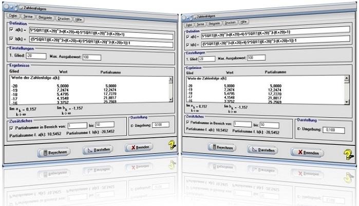 MathProf - Zahlenfolgen - Folgen - Folgen - Reihen - Partialsumme - Teilsumme - Bildungsvorschrift - Plotten - Zeichnen - Grafik - Tabelle - Rechner - Graph - Werte - Grenzwert - Teilfolge