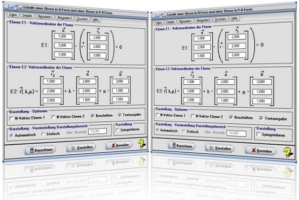 MathProf - Ebenen - Zwei Ebenen - Ebenen im Raum - Zeichnen - Lagebeziehung - Ebenengleichungen - Schnittgerade - Schnittwinkel - Schneiden - Spiegeln - Berechnen - Rechner - Graph - Gleichung - Grafisch - Plotten - Dasrtellen - Zeichnen - Grafisch