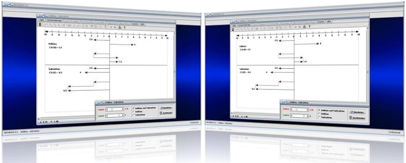 MathProf - Rationale Zahlen - Zahlenstrahl - Addition - Subtraktion - Addieren - Subtrahieren - Rechner - Darstellen - Graph - Grafik - Bild
