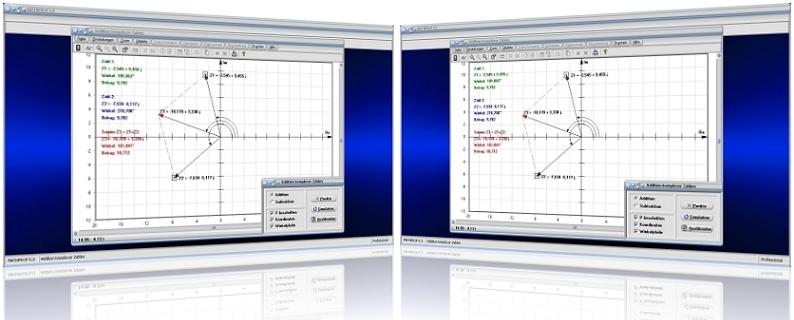 MathProf - Komplexe Zahlen - Addition - Subtraktion - Zeigerdiagramm - Addieren - Subtrahieren - Rechnen - Summe - Realteil - Imaginärteil - Zeigerdiagramme - Graph - Rechner - Plotter - Grafisch - Bilder - Darstellung - Berechnung - Darstellen - Winkel
