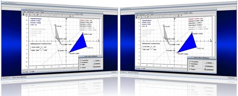 MathProf - Analyse - Affine Transformation - Bildgerade - Ursprungsgerade - Fixpunkt - Fixgerade - Fixpunktgerade - Fixelement - Bestimmen - Lineare Abbildung - Rechner - Berechnen - Affine Abbildung - Transformationsmatrix - Bestimmung - Plotten - Plotter - Grafisch - Bild - Grafik - Grafisch