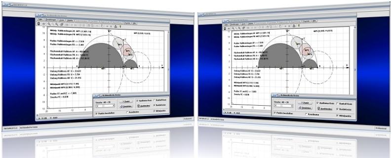 MathProf - Archimedes - Kreise - Zwillingskreise des Archimedes - Kreise im Kreis - Halbkreis - Apollonius-Kreis - Halbkreisbogen - Bankoffkreis - Tangierende Kreise -   Berührende Kreise - Flächeninhalt - Bilder - Rechner - Graph - Plotten - Darstellung - Berechnung - Darstellen