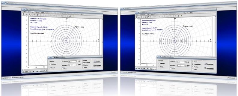 MathProf - Archimedische Spirale - Sektorfläche - Bogenlänge - Funktion - Polarkoordinaten - Spirale - Parameterdarstellung - Parameter - Graph - Formel   - Eigenschaften - Zeichnen - Gleichung - Plotten - Grafisch - Berechnen - Berechnung - Darstellen - Rechner