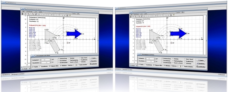 MathProf - Stauchen - Strecken - Spiegeln - Grafik - Abbilden - Abbildung - Plotter - Rechner - Graph - Koordinaten - Bildpunkte - Plotten - Bilder - Darstellung -   Berechnen - Darstellen - Bildpunkte - Drehung - Spiegelung - Stauchung - Streckung - Ortslinien - Planimetrie - Verschieben - Verschiebung