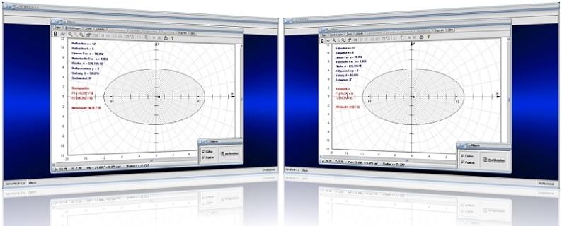 MathProf - Ellipse - Flächen - Umfang - Halbachsen - Brennpunkte - Exzentrizität - Hauptachse - Nebenachse - Halbachsen - Halbparameter - Lineare Exzentrizität - Numerische Exzentrizität - Ellipsenumfang - Halbachse - Graph - Darstellung - Berechnung - Berechnen - Parameter - Darstellen - Rechner - Plotten - Formel - Zeichnen - Plotter