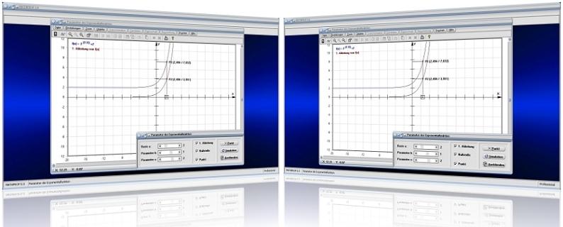 MathProf - Exponentialfunktionen - Exponentialgleichungen - Ableiten - Eigenschaften - Graphen - Ableitung - Ableiten einer Exponentialfunktion - Gleichung - Zeichnen -   Exponentialkurve - Exponentialrechnung - Kurve - Allgemeine Exponentialfunktion - Strecken - Stauchen - Plotten - Verschieben - Grafisch - Rechner - Analysieren - Beispiel -   Plotter - Darstellung - Darstellen - Formel - Nullstellen - Graph - Parameter - Grafik - Berechnen