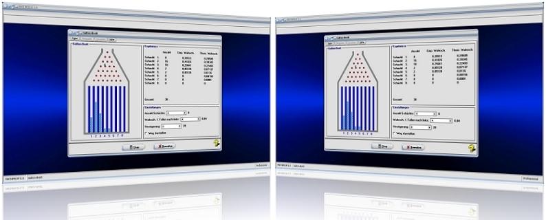 MathProf - Galtonbrett - Galton board - Nagelbrett - Galtonsches Brett - Galton-Brett - Empirische Wahrscheinlichkeit - Theoretische Wahrscheinlichkeit - Binomialverteilung - Bernoulli - Bild - Plotter - Stufen - Funktionsweise - Tabelle - Graph - Rechner - Animation - Simulation - Wege - Berechnen - Möglichkeiten