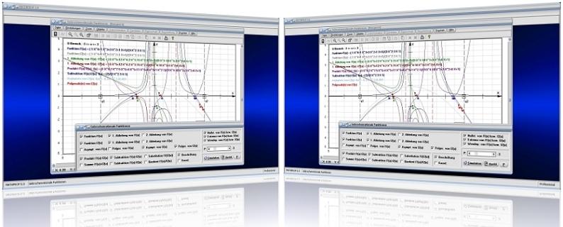 MathProf - Gebrochen rationale Funktionen - Rationale Funktionen - Rechner - Polynome - Polynomdivision - Gleichung - Nullstellen - Pole - Koeffizienten -   Darstellung - Bestimmen - Berechnen - Grafik - Zeichnen - Eigenschaften - Plotten - Berechnung - Addieren - Subtrahieren - Multiplizieren - Dividieren - Doppelte Nullstelle - Ableiten - Ableitung