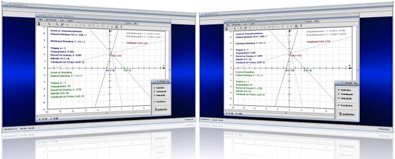 MathProf - 2 Geraden - Schnittpunkt - Zwei Geraden - Geradenschnittpunkt - Abstand - Nullstelle - Steigung - Schnittwinkel - Rechner - Plotter - Darstellen - Graph - Berechnen - Plotten - Beispiel - Zeichnen - Achsenschnittpunkte - Scheitelwinkel - Steigungswinkel - Windschiefe Geraden