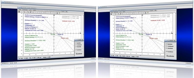 MathProf - Geraden - Lagebeziehung - Zwei Geraden - Nullstellen - Schnittpunkt - Geradengleichungen - Lineare Funktionen - Berechnen - Rechner   - Abstand - Nullstelle - Graph - Darstellen - Plotter - Schnittpunkt - Schnittwinkel - Nullstellen