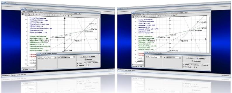 MathProf - Geraden - Lagebeziehung - Zwei Geraden - Beziehung - Nullstellen - Schnittpunkt - Geradengleichungen - Schnittpunkte - Lineare Funktionen - Geradensteigung - Eigenschaften - Winkel - Scheitelwinkel - Winkelhalbierende - Schnittwinkel - Abstand - Berechnen - Rechner - Nullstelle - Graph - Darstellen - Plotten