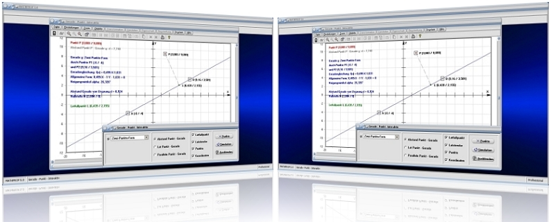 MathProf - Geraden - Parallel - Lotfußpunkt - Lotgerade - Lineare Funktionen - Steigungswinkel - Abstand - Normalabstand - Lotrechte - Lagebeziehung - Rechner -   Abstand - Berechnen - Zeichnen - Geradengleichungen - Funktionsgleichung - Normale - Entfrenung - Distanz - Graph - Darstellen - Plotten