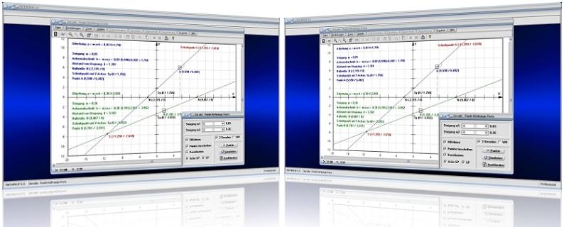 MathProf - Gerade - Punkt-Steigungs-Form - Punktrichtungsgleichung - Lineare Funktionsgleichung - Parametergleichung - Punktsteigungsform - Steigungsfaktor  -   Geradenkreuzung - Steigungswinkel - Schnittpunkt - Abstand - Ursprung - Punkt - Rechner - Graph - Plotter - Gleichung - Nullstelle - Berechnen - Darstellen - Zeichnen - Plotten
