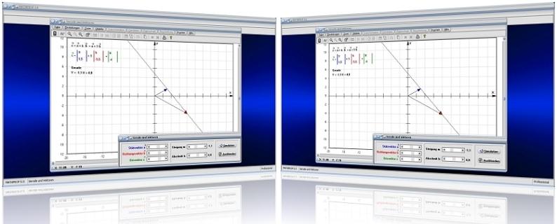 MathProf - Vektoren - Geradengleichung - Vektordarstellung - Gerade - Graph - Stützvektor - Ortsvektor - Richtungsvektor - Vektorgleichung - Vektordarstellung - Vektorielle Darstellung - Grafisch - Plotten - Plotter - Berechnung - Darstellen - Vektorgeometrie