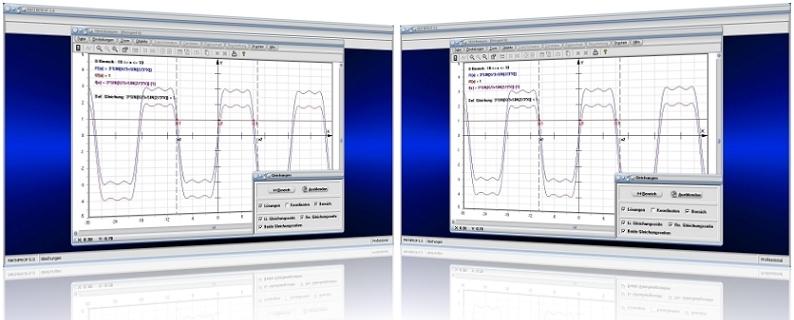 MathProf - Gleichung - Funktionsgleichungen - Lösen - Lineare Gleichungen - Nichtlineare Gleichungen - Gleichungsrechner - Zwei Funktionen - Plotten - Untersuchen - Untersuchung - Graph - Terme - Grafisch - Rechner - Lösungen - Plotter - Tabelle - Werte - Rechnerisch - Zeichnen