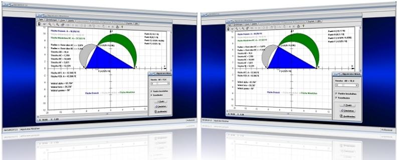 MathProf - Möndchen - Hippokrates - Satz - Fläche - Rechner - Darstellen - Graph - Berechnen - Lösung - Möndchen - Sichel - Abbildung - Grafik - Bild - Rechner - Berechnung - Plotten