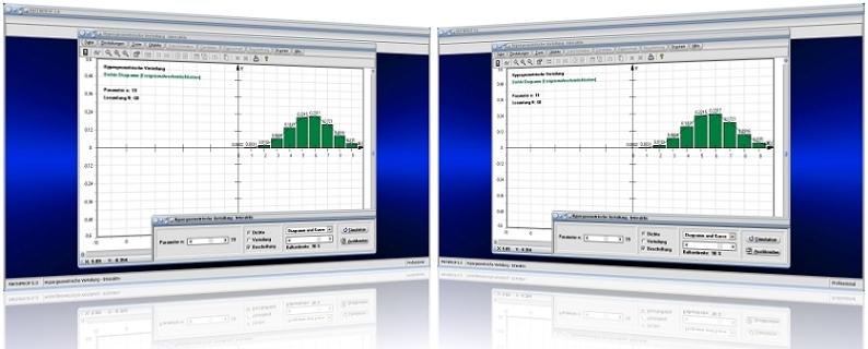 MathProf - Hypergeometrisch - Zufallsgrößen - Grafik - Graph - Grafisch - Histogramm - Dichte - Verteilung - Kumulierte Häufigkeit - Eintrittswahrscheinlichkeit - Rechner - Berechnung - Plotter - Graph - Plotten