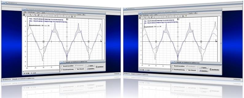 MathProf - Integral - Absolute Fläche - Berechnen - Plotter - Beispiele - Rechner - Grafische Integration - Integralrechnen - Flächenelement - Funktion - Absolute Fläche - Fläche zwischen zwei Kurven - Volumen - Zwei Funktionen - Bereichsintegral - Flächeninhalt - Plotten - Zeichnen - Darstellen - Grafisch - Grafik - Fläche unter Kurve