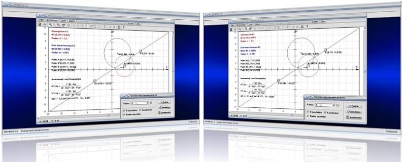 MathProf - Inversion - Kreis - Gerade - Gerade invertieren - Umkehrung - Inversionszentrum - Kreisspiegelung - Rechner - Berechnen - Graph - Plotten - Darstellen