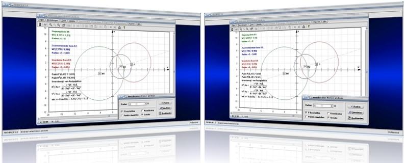 MathProf - Inversion - Kreis - Kreise - Kreisspiegelung - Inversionszentrum - Inversionskreis - Mittelpunkt - Zentrum - Koordinatentransformation - Ursprungskreis - Transformation - Bild - Darstellen - Plotten - Graph - Rechner - Berechnen - Grafik - Zeichnen - Plotter