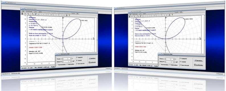 MathProf - Kartesisches Blatt - Fläche - Schleife - Asymptote - Tangente - Krümmung - Graph - Plotten - Grafisch - Darstellung - Berechnen - Berechnung - Darstellen - Rechner