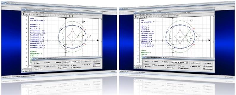 MathProf - Kurven zweiter Ordnung -  Kegelschnitt - Ellipsengleichung - Hyperbelgleichung - Achsenparallel - Kegelschnittgleichungen - Allgemeine Gleichung - Ellipse - Parameterdarstellung - Rechner - Berechnen - Darstellen - Graph - Darstellung - Plotter