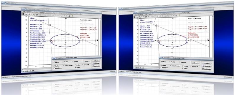 MathProf - Kegelschnitt - Punkt - Externer Punkt - Extern - Ellipse - Hyperbel - Parabel - Tangente - Externe Tangente - Tangentengleichung - Kegelschnittgleichung -   Berührpunkt - Polare - Graph - Plotter - Darstellen - Rechner - Berechnen - Plotten