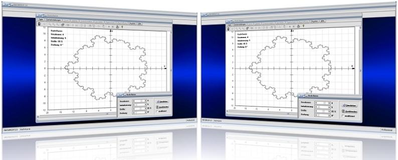 MathProf - Kochkurve - Schneeflocke - Schneeflockenkurve - Snow flake - Kochsche Schneeflocke - Kochsche Schneeflockenkurve - Fraktale Geometrie - Iteration - Rekursiv - Umfang - Länge - Animation - Grafik - Fläche - Flächeninhalt