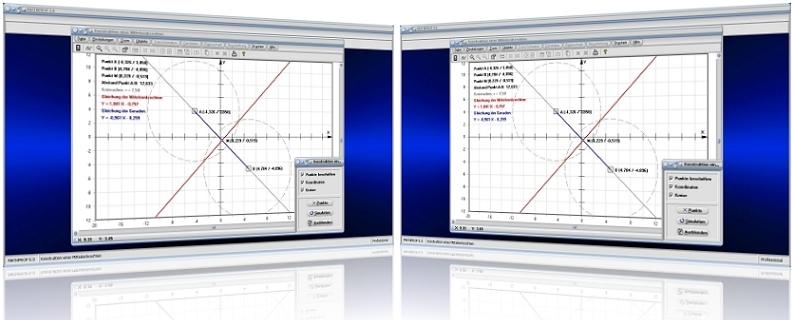 MathProf - Mittelsenkrechte - Konstruktion - Konstruieren - Gerade - Punktabstand - Lotrechte - Lot - Darstellung - Berechnen - Bestimmen - Rechner - Darstellen - Grafik - Zeichnen - Plotten - Strecke - Schnittpunkt