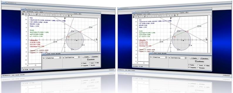 MathProf - Kreis - Gerade - Kreistangenten - Geraden - Tangente - Berechnung - Normale - Schnittpunkte - Lagebeziehung Kreis Gerade - Eigenschaften - Bild - Rechner - Berechnen - Darstellen - Plotter - Graph - Grafik - Grafisch - Bestimmen - Zeichnen
