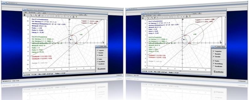 MathProf - Zwei Kreise - Schnittpunkte - Kreisfläche - Berechnung - Darstellung - Tangente - Normale - Chordale - Kreismittelpunkt - Berührpunkt - Lagebeziehung - Rechner - Darstellen - Berechnen - Plotter - Graph - Plotten