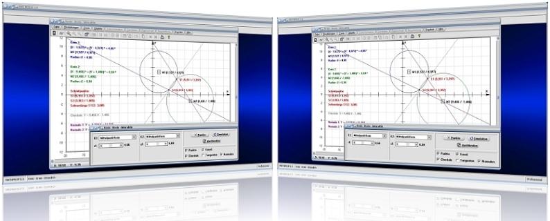 MathProf - Zwei Kreise - Schneiden - Chordale - Schnittpunkte -Tangenten - Kreistangenten - Radien - Mittelpunkte - Kreisumfang - Koordinatengleichung - Scheitelgleichung - Vektorform - Mittelpunktsform - Eigenschaften - Berechnung - Darstellen - Plotten - Plotter - Formel - Rechner - Bestimmen - Zeichnen - Graph - Grafik