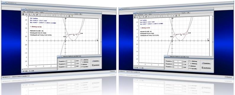MathProf - Gleichungen - 2. Grades - 3. Grades - 4. Grades - Polynome - Biquadratische Gleichungen - Lösen - Darstellung - Nullstellen - Komplex -   Lösungen - Rechner - Ableitung - Ableiten - Berechnen - Plotten - Darstellen - Graph - Plotten