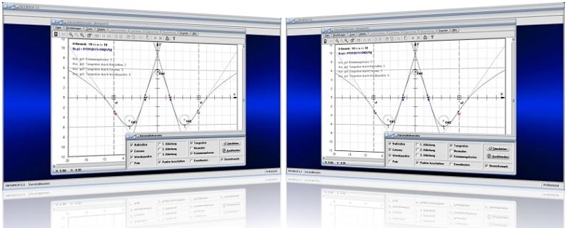 MathProf - Differentialrechnung - Komplette Kurvendiskussion - Kurvendiskussion - Parameter - Funktion untersuchen - Berechnung - Hochpunkte - Tiefpunkte - Wendestellen - Pole - Polstellen - Krümmungskreise - Krümmungsradius - Krümmungsmittelpunkt  - Tangenten - Nullstellen - Graph - Plotten - Grafisch - Rechner - Berechnen - Plotter - Darstellen